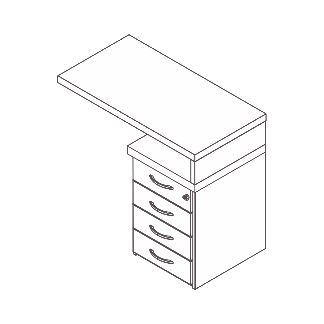 Mesa apoio gaveteiro 4 gavetas topázio
