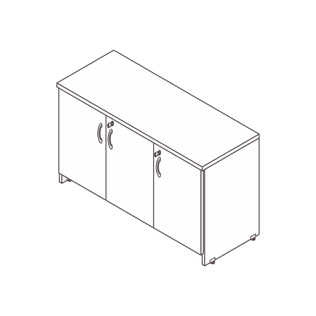 Credenza 3 portas prata top