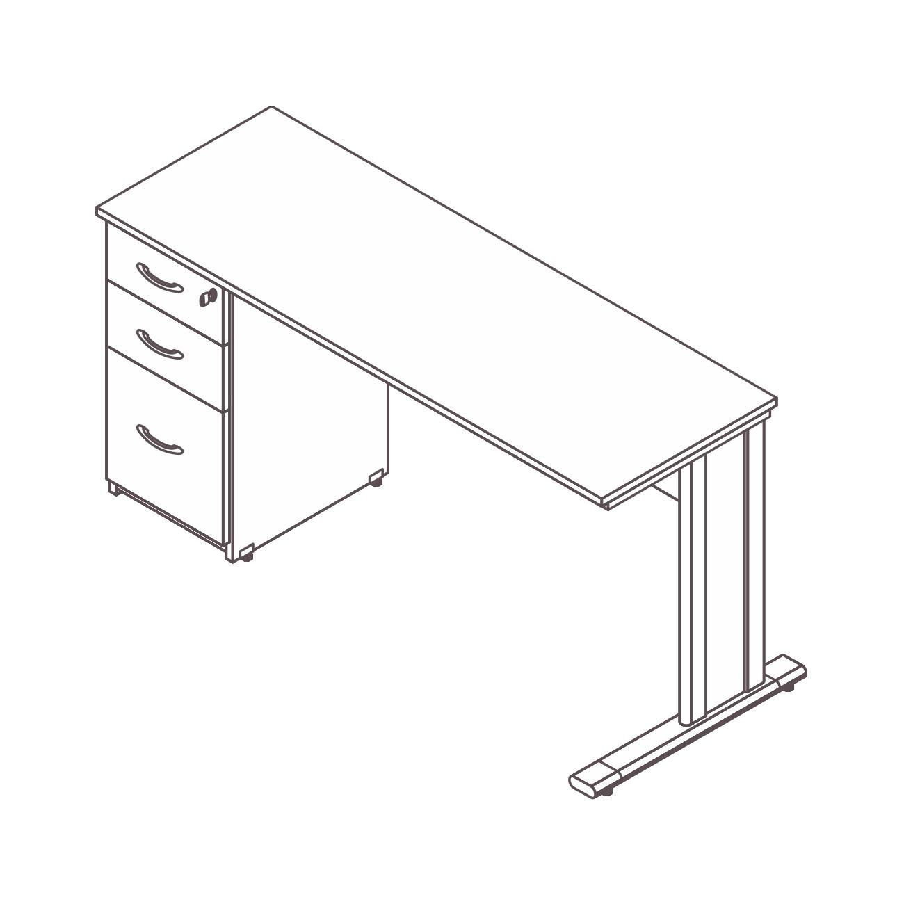 Mesa diretor / gerente gaveteiro pedestal 2 gavetas pasta suspensa diamante