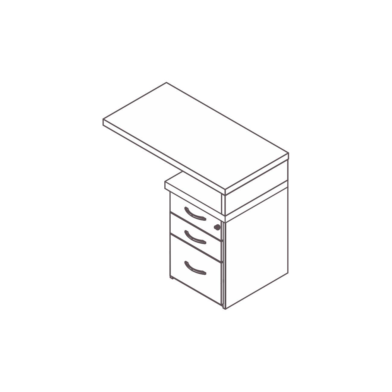 Mesa apoio gaveteiro 2 gavetas pasta suspensa pérola