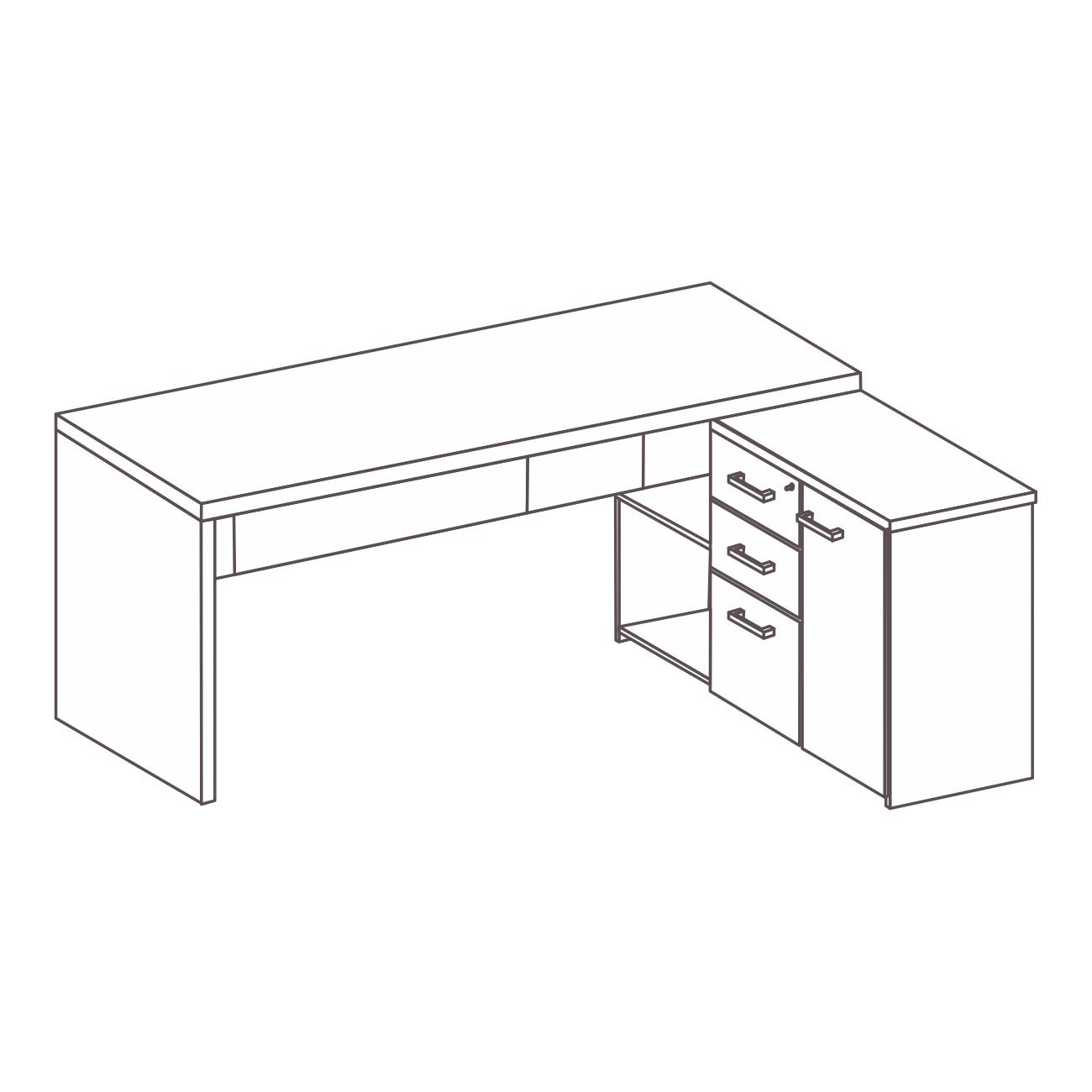 Mesa com armário pérola lado direito