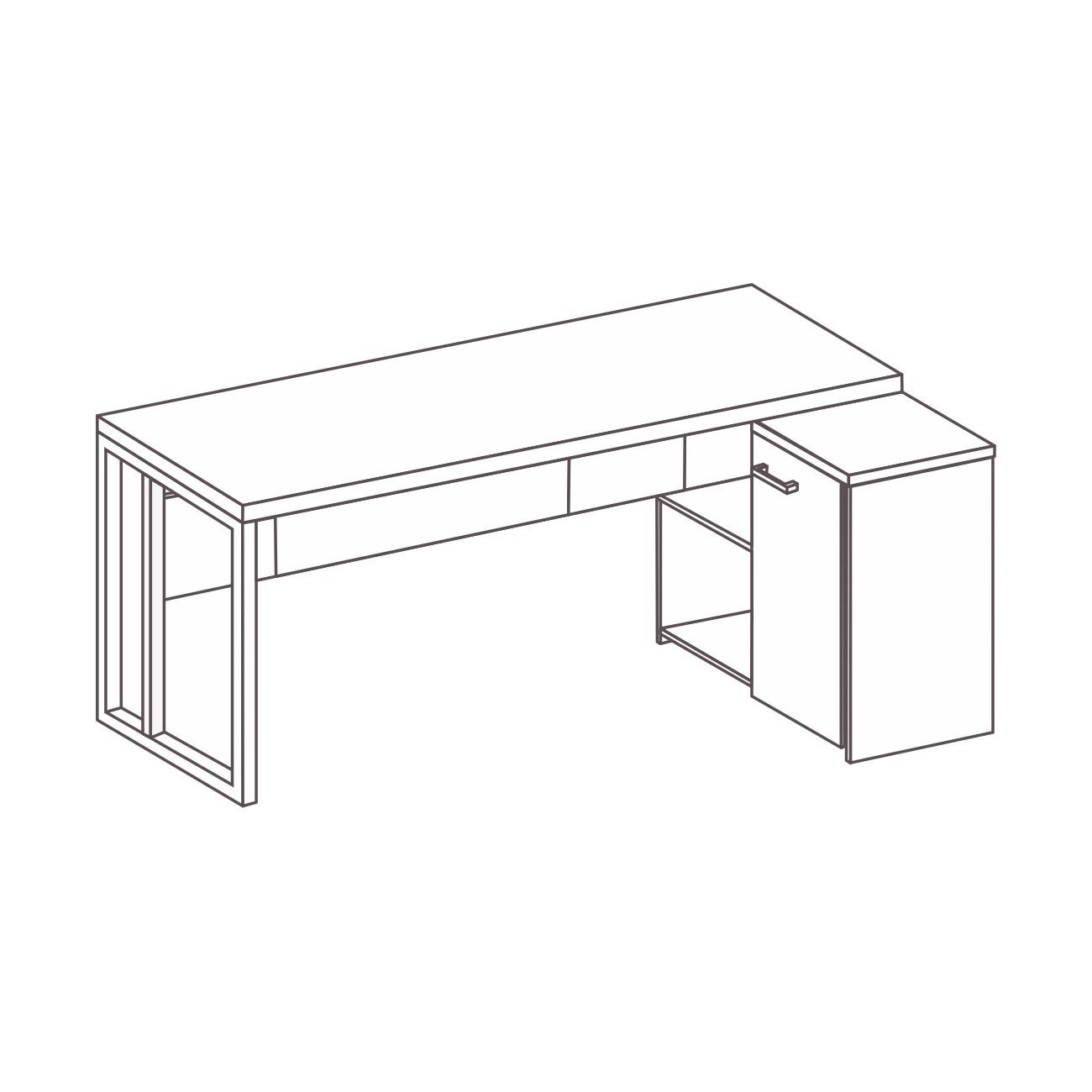 Mesa L com armário pérola e pé de aço