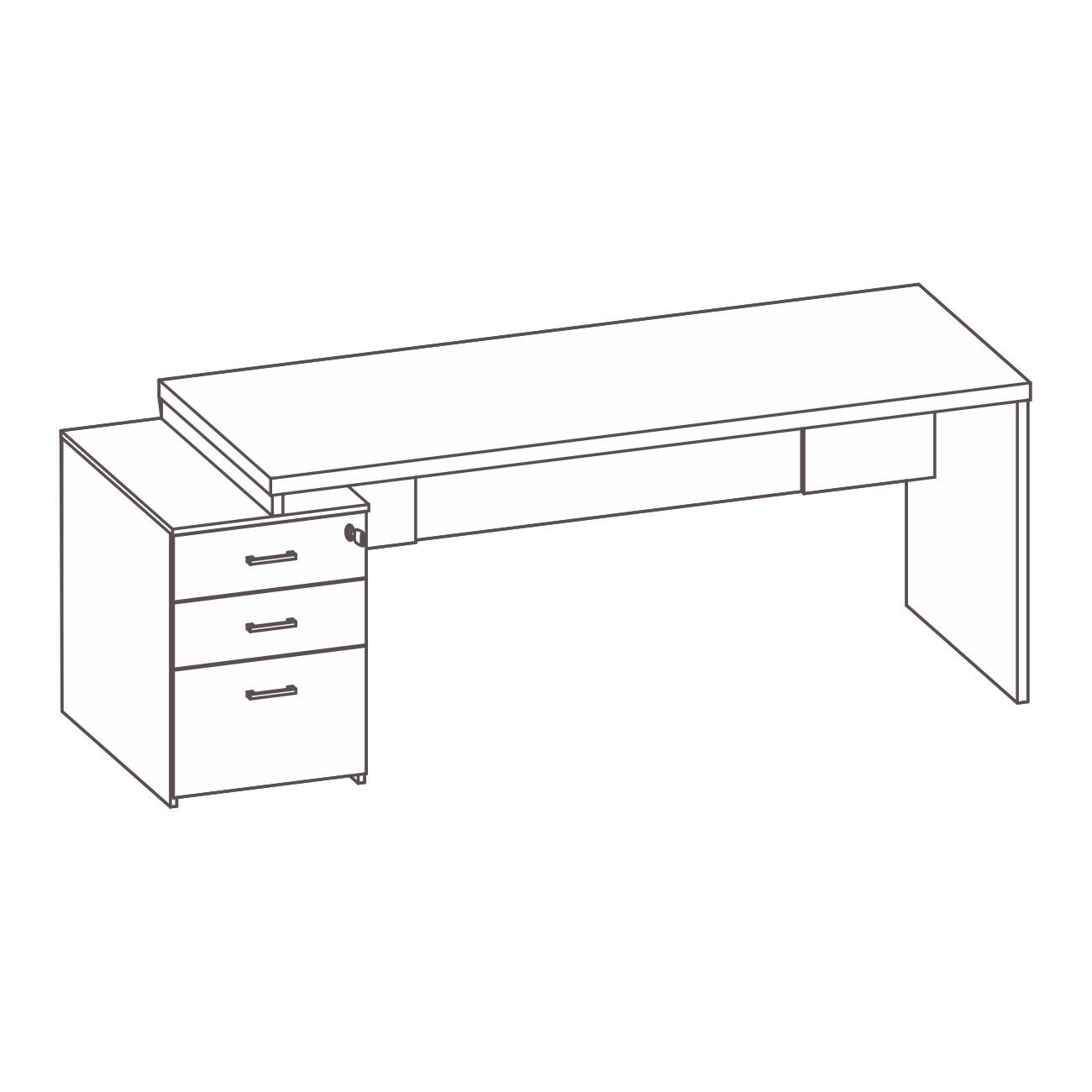Mesa com gaveteiro pérola lado esquerdo