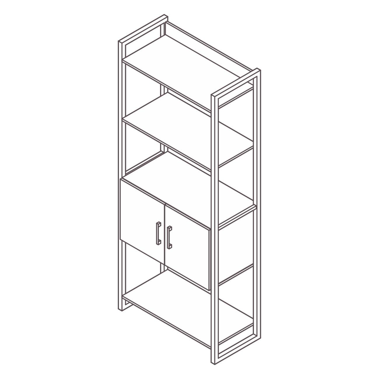 Estante aço ônix 3 prateleiras com armário central