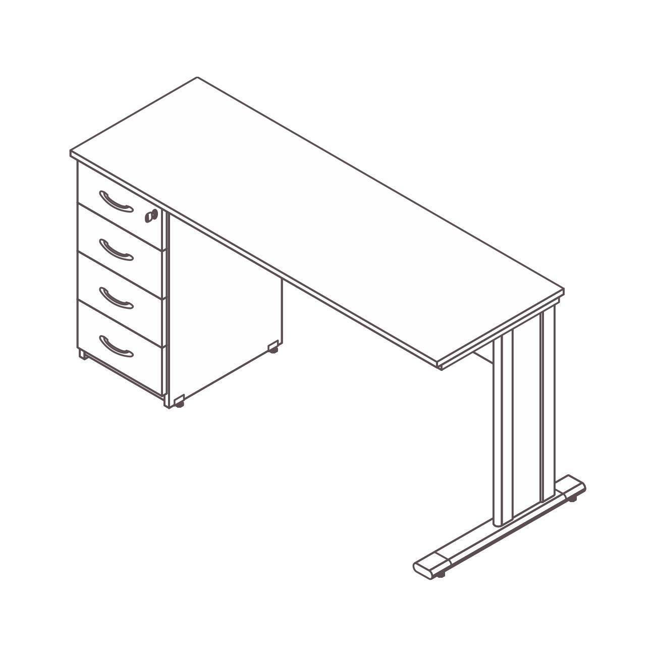 Mesa diretor / gerente gaveteiro pedestal 4 gavetas diamante