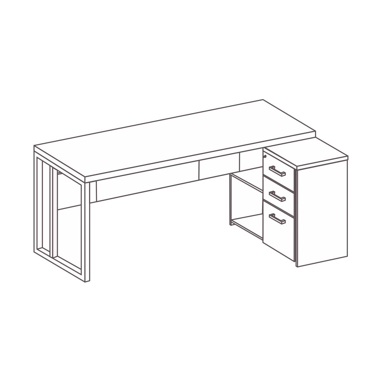 Mesa L com gaveteiro pérola e pé de aço