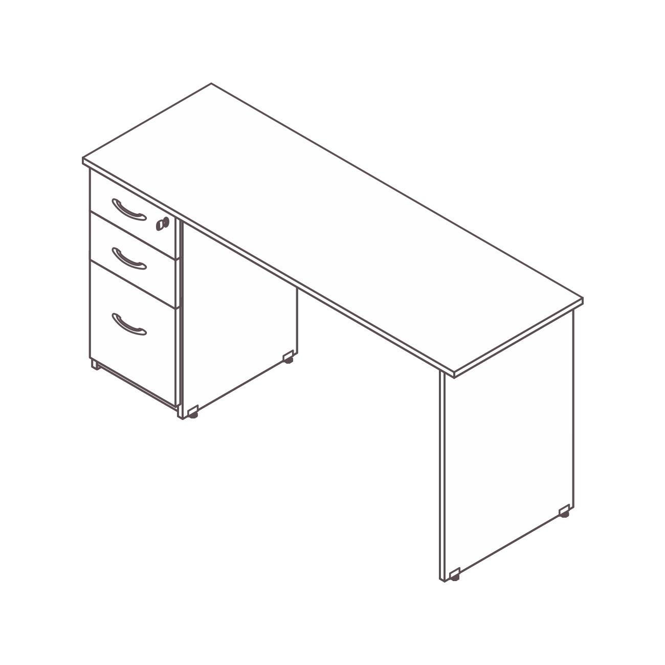 Mesa diretor / gerente gaveteiro pedestal 2 gavetas pasta suspensa diamante pé painel