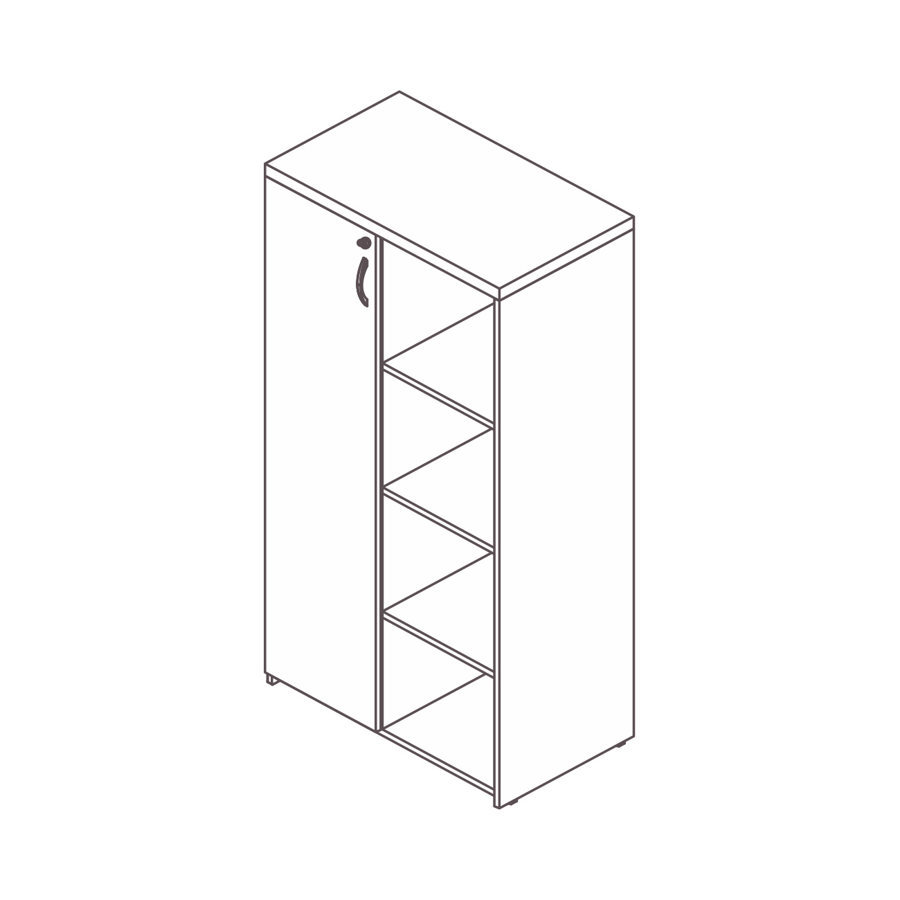 Armário diretor 1 porta estante lateral safira