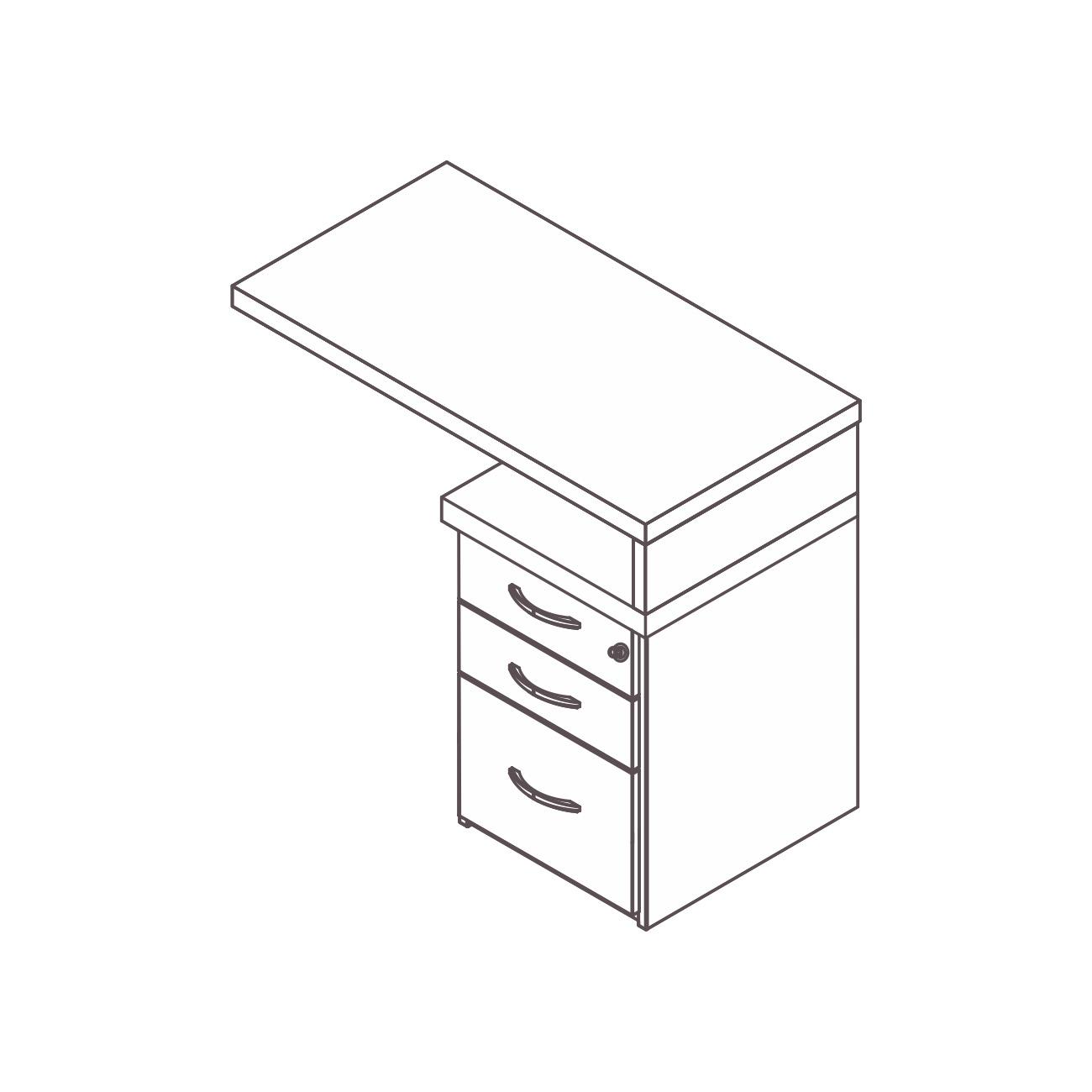 Mesa apoio gaveteiro 2 gavetas/pasta suspensa safira