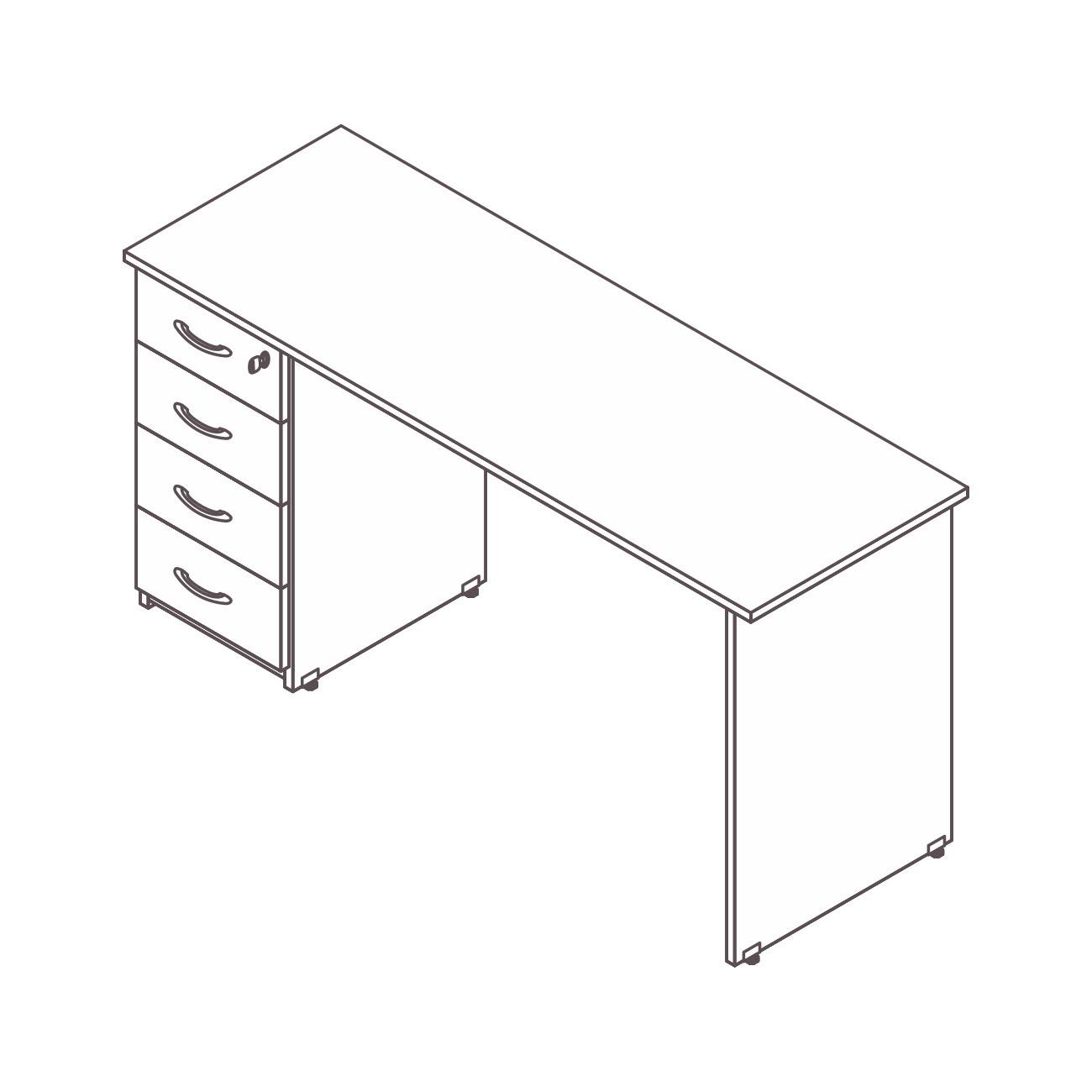 Mesa diretor / gerente gaveteiro pedestal 4 gavetas diamante pé painel