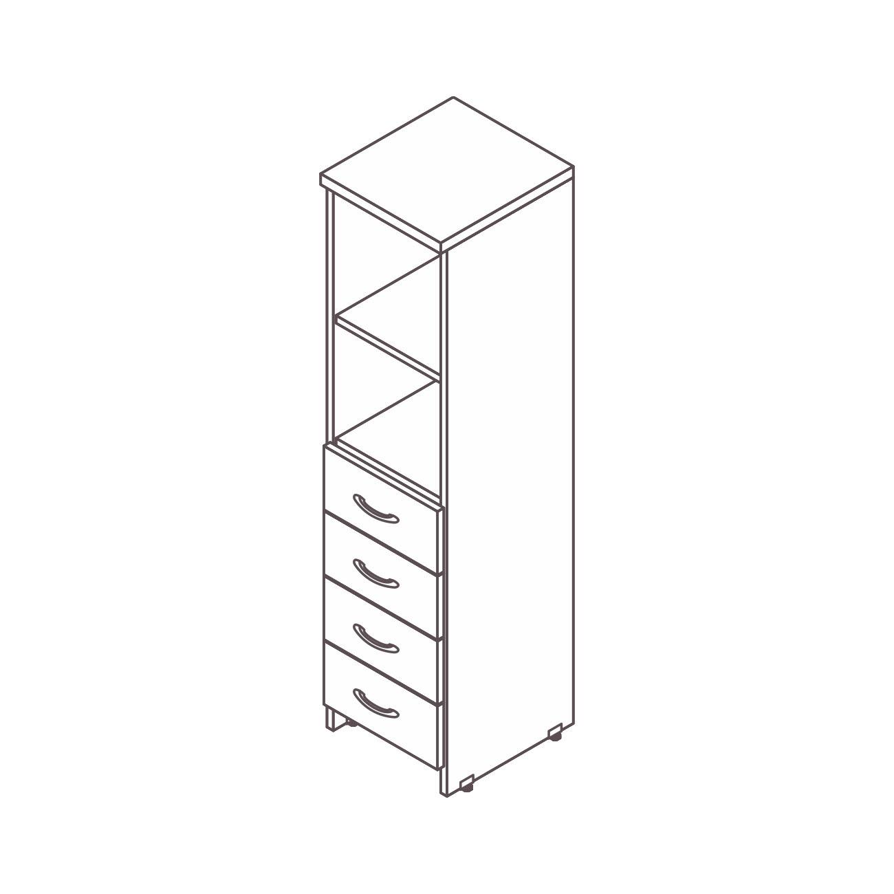 Armário estante 4 gavetas prata top