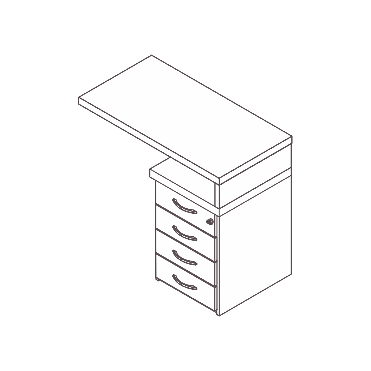 Mesa apoio gaveteiro 4 gavetas safira / AP30