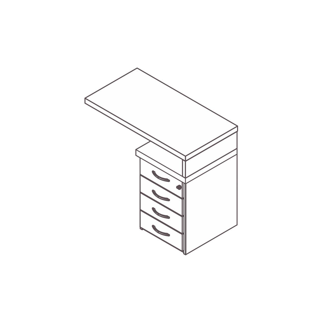 Mesa apoio gaveteiro 4 gavetas pérola