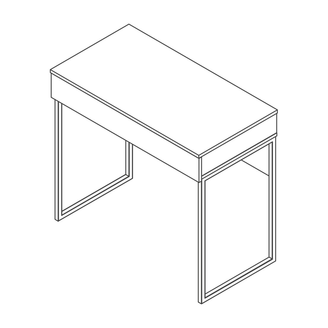 Mesa com gaveta pé aço britta