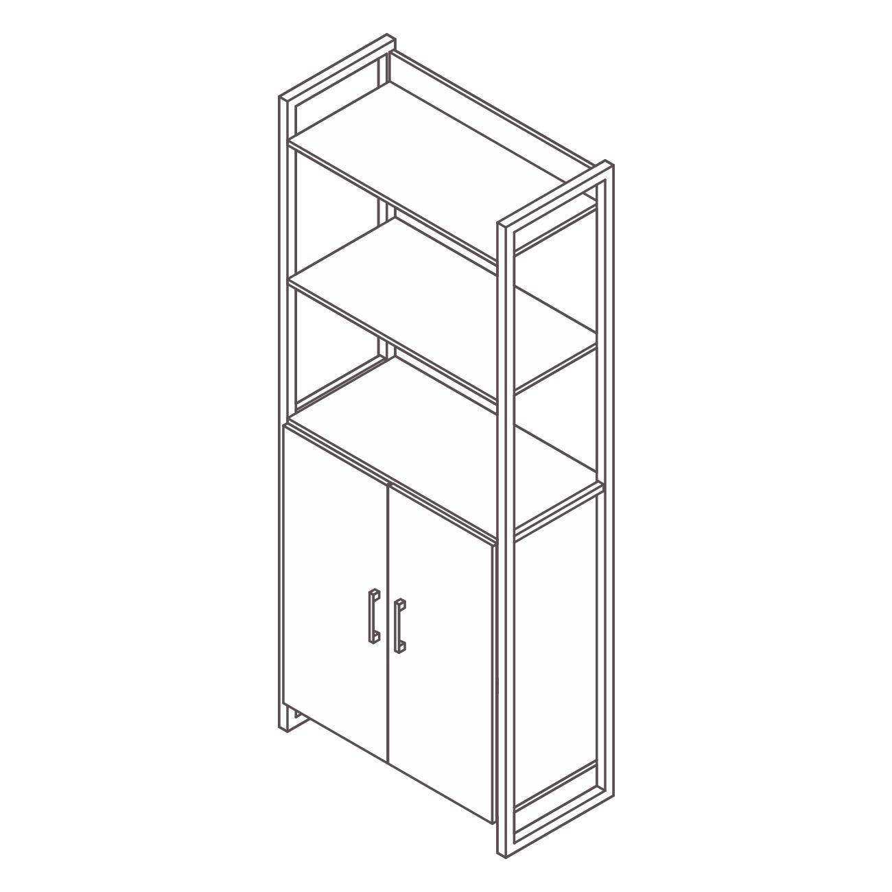 Estante aço ônix 2 prateleiras com armário secretária