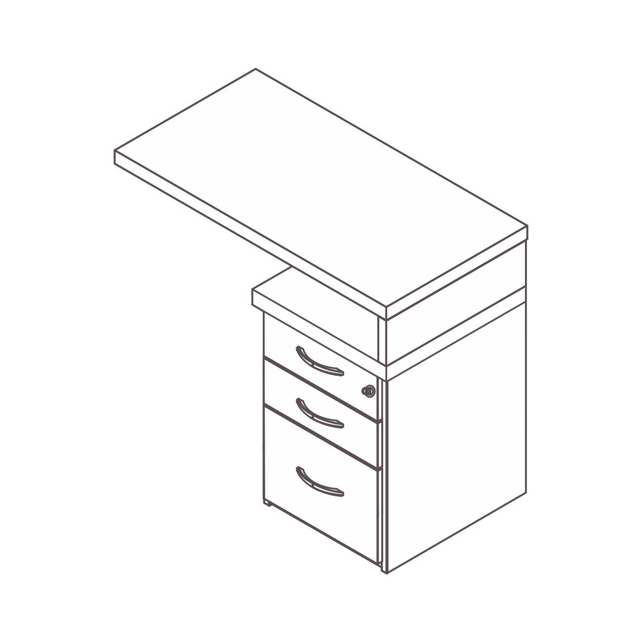 Mesa apoio gaveteiro 2 gavetas pasta suspensa topázio