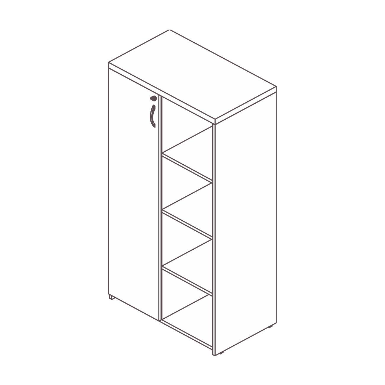 Armário diretor 1 porta estante lateral prata top