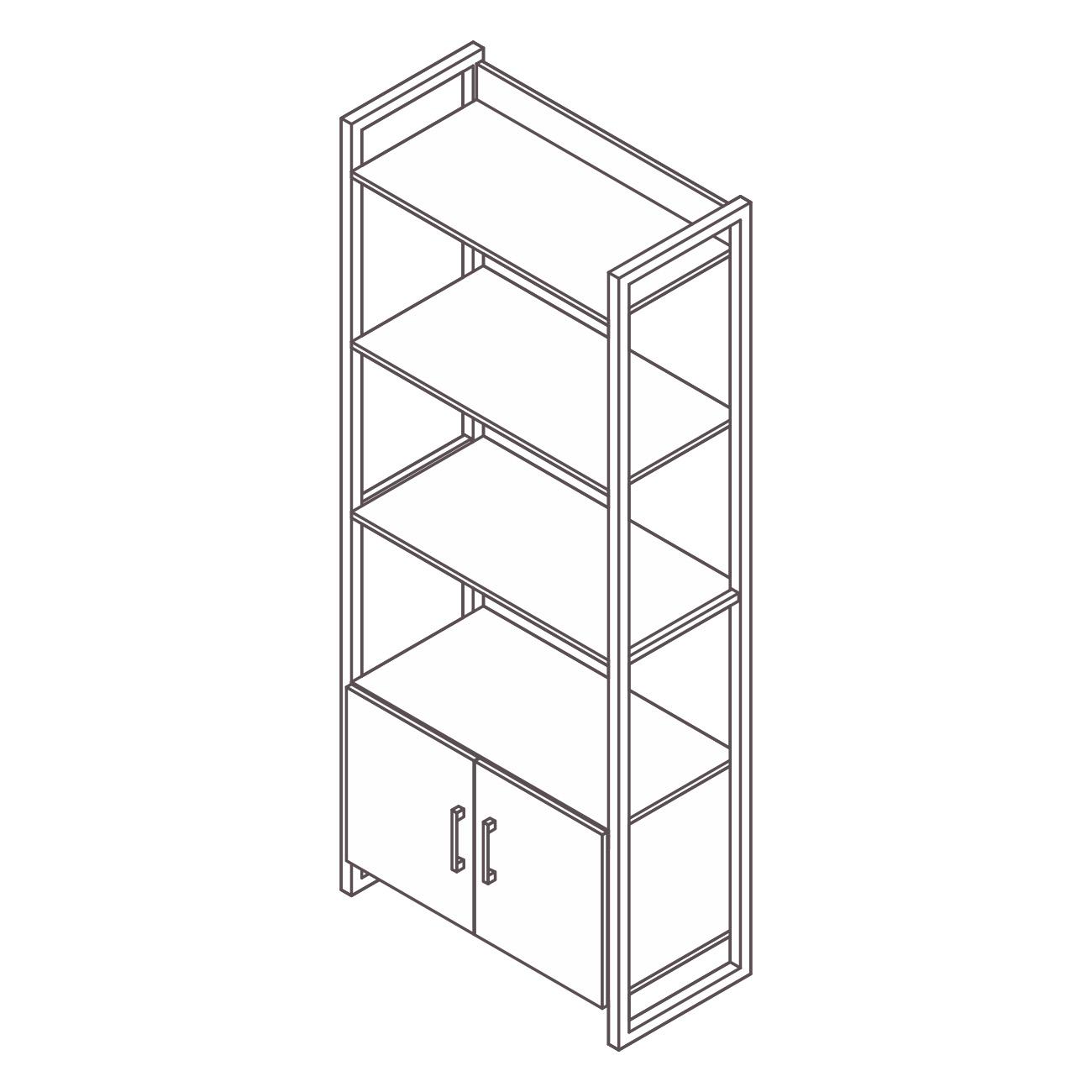Estante aço ônix 3 prateleiras com armário inferior
