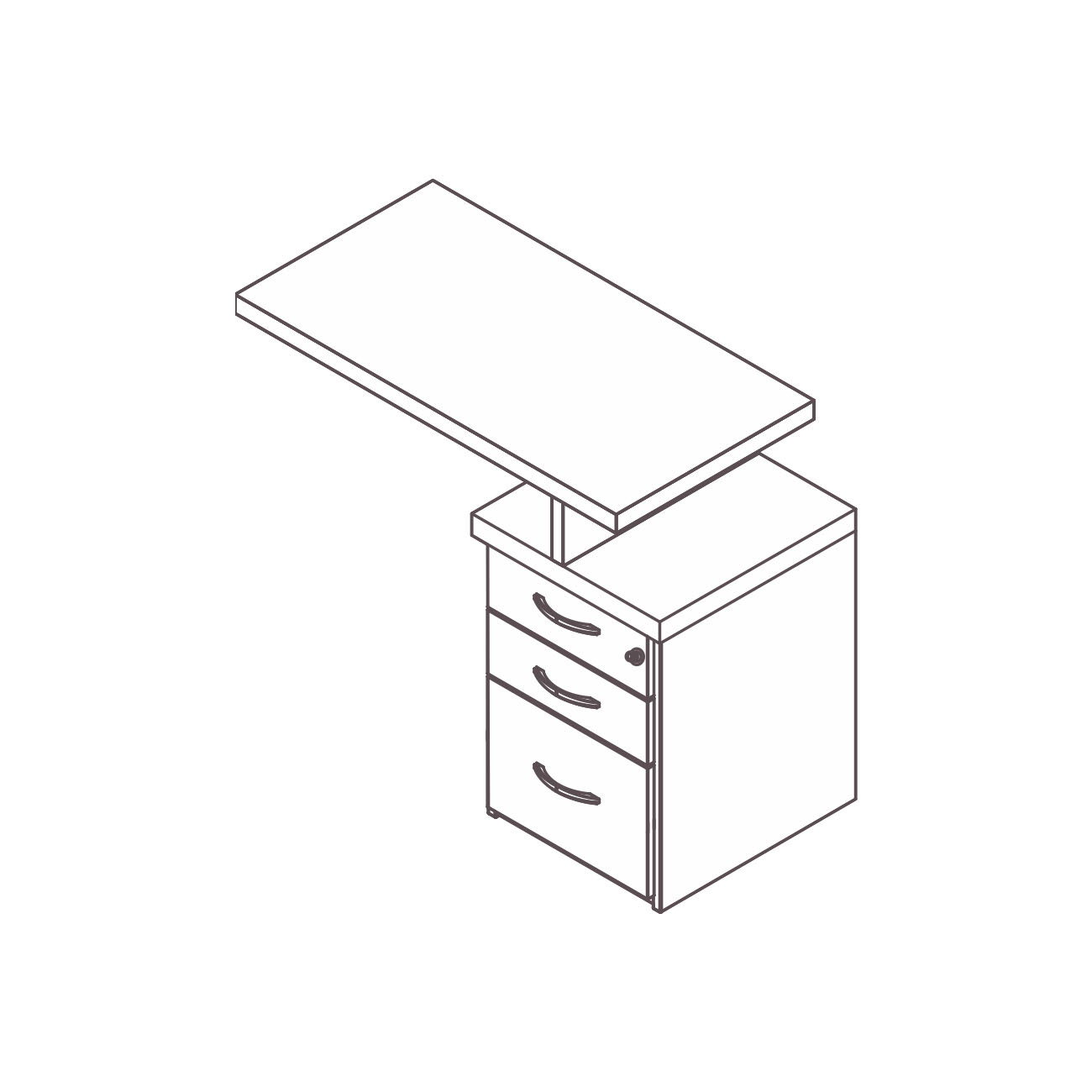 Mesa apoio gaveteiro 2 gavetas pasta suspensa prata plus