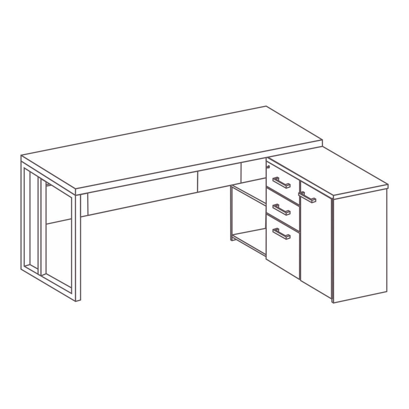 Mesa L com armário e gaveteiro pérola pé de aço