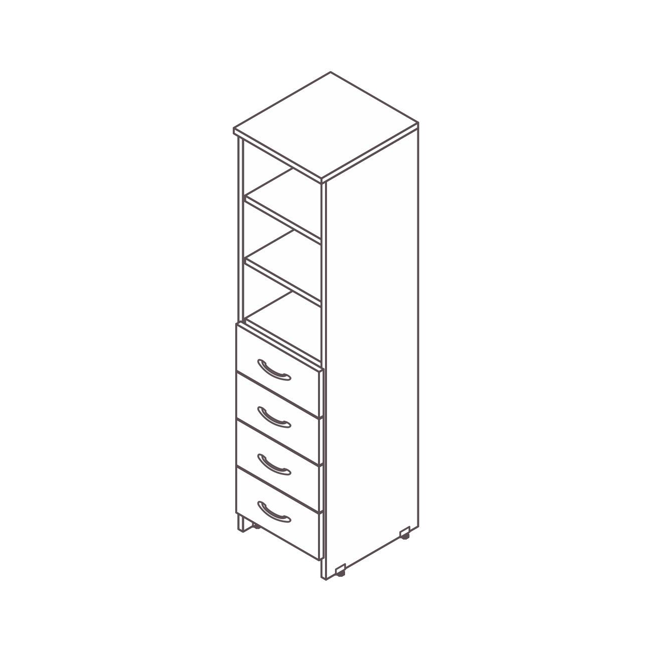Armário estante 4 gavetas diamante