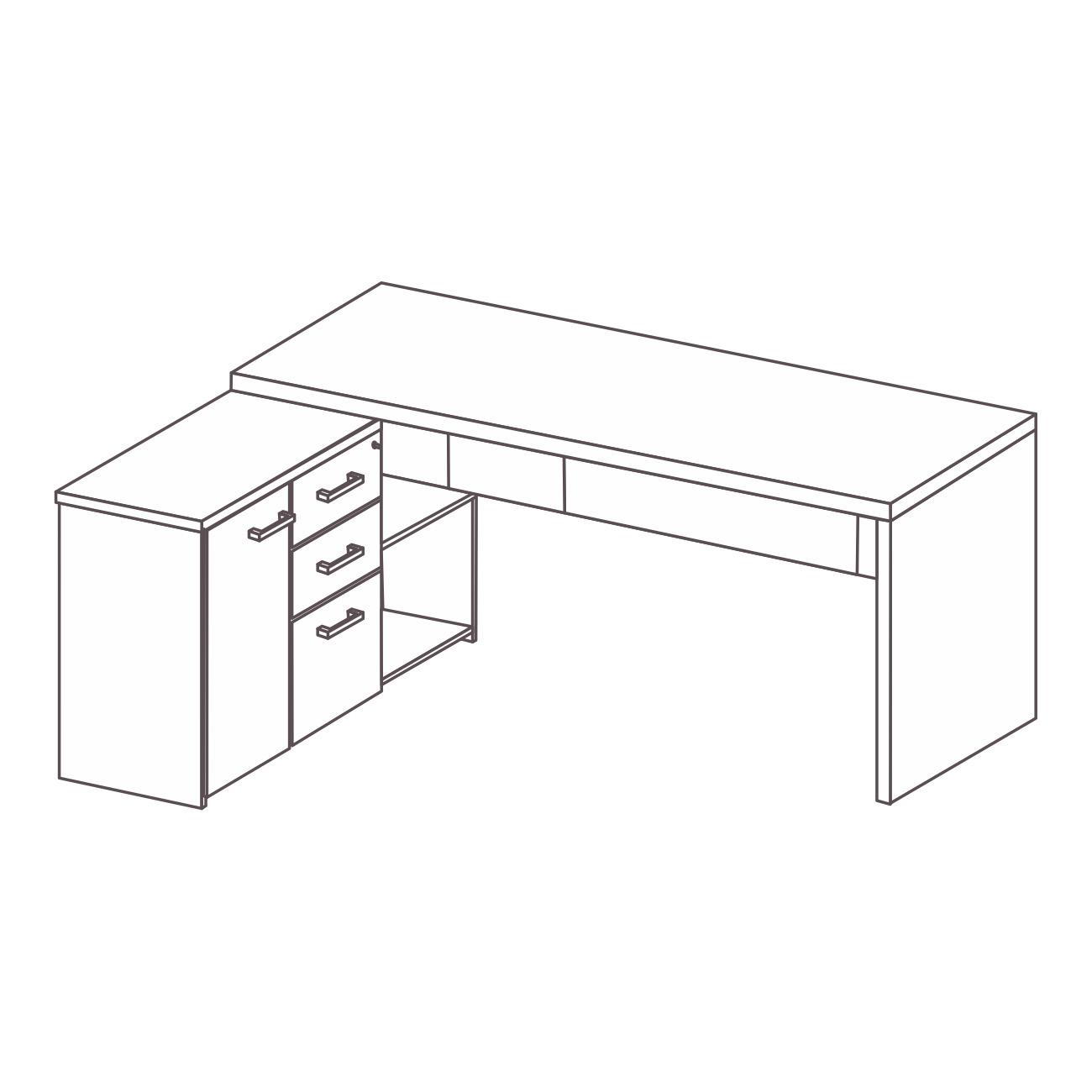 Mesa com armário pérola lado esquerdo
